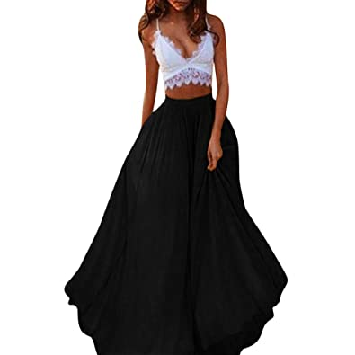 d03af232f06 Amazon.com  Mysky Fashion Women Summer Casual Pure Color Chiffon Skirts  Ladies Simple High Waist Long Skirt  Shoes