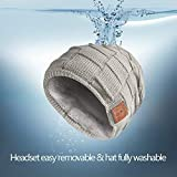 Stretchy Bluetooth Beanie Thicker Knit Winter Music Hat Wireless Smart Men & Women Fasion Caps with Stereo Headset Fit for Outdoor/Indoor Sports Gifts (Gray)