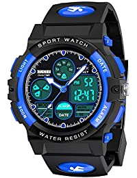 SOKY LED 50M Waterproof Sports Digital Watches for Boys Age 7-9 Birthdy Gifts Blue