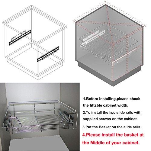 Kitchen Cabinets Basket Drawer: Estink Kitchen Sliding Cabinet Organizer,Pull Out Chrome