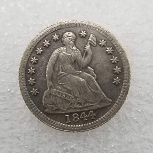 MarshLing Rare Antique Great United States 1844 Liberty Old Half-DIME Coins - Lucky Commemorative Gift Coin-Great Teaching Tool for Kids Perfect Quality