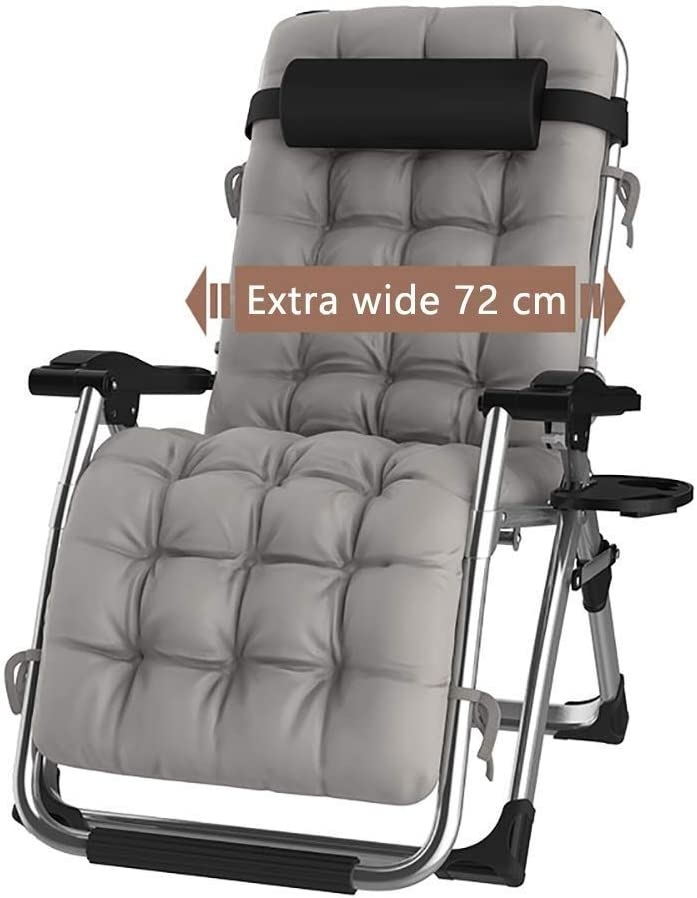 DQCHAIR Sillas Plegables Sillas reclinables de tumbonas para tumbonas para la Playa Patio Jardín Acampar Al Aire Libre Portátil Home Lounge Chair Soporta 200 kg Negro (Color : with Gray Cushions)