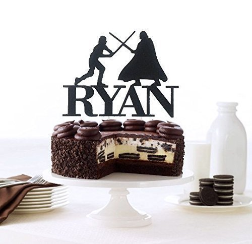 Luke VS Darth Vader Inspired Cake Topper, Custom Name Cake Topper, Birthday Party Decoration (Fantastic Party Cakes)