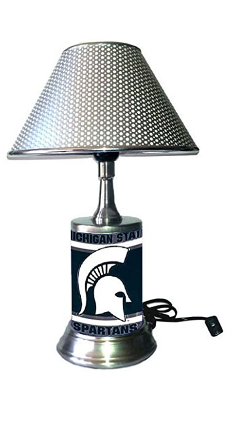 Amazing Rico Table Lamp With Chrome Colored Shade Michigan State Spartans Plate Rolled In On The Lamp Base Home Interior And Landscaping Palasignezvosmurscom