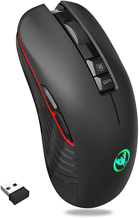 Wireless Gaming Mouse Optical 2400 DPI Unique Silent Click LED for PC Laptop Mac