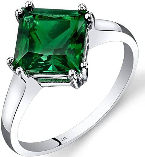14K White Gold Created Emerald Princess Cut Ring 2.00 Carats Sizes 5-9