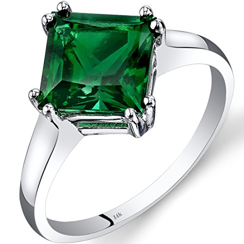 14K White Gold Created Emerald Princess Cut Ring 2.00 Carats Size 6
