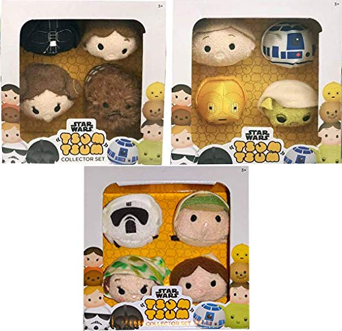 Collectors Box Star Wars Tsum Plush Set Pack 12 Characters Disney Mini Tsum Collection Droids / Yoda / Luke Skywalker / Han Solo / Princess Leia / Darth Vader & More Stackable Cute Soft