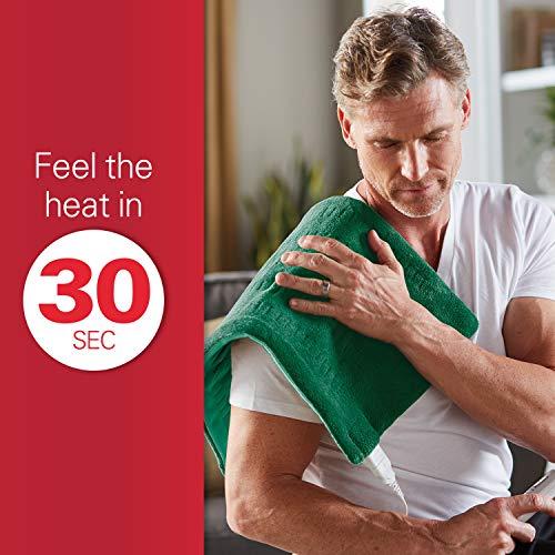 "Sunbeam King-Size XpressHeat Heating Pad, 6 Heat Settings, Select Moist/Dry 24"", Green"