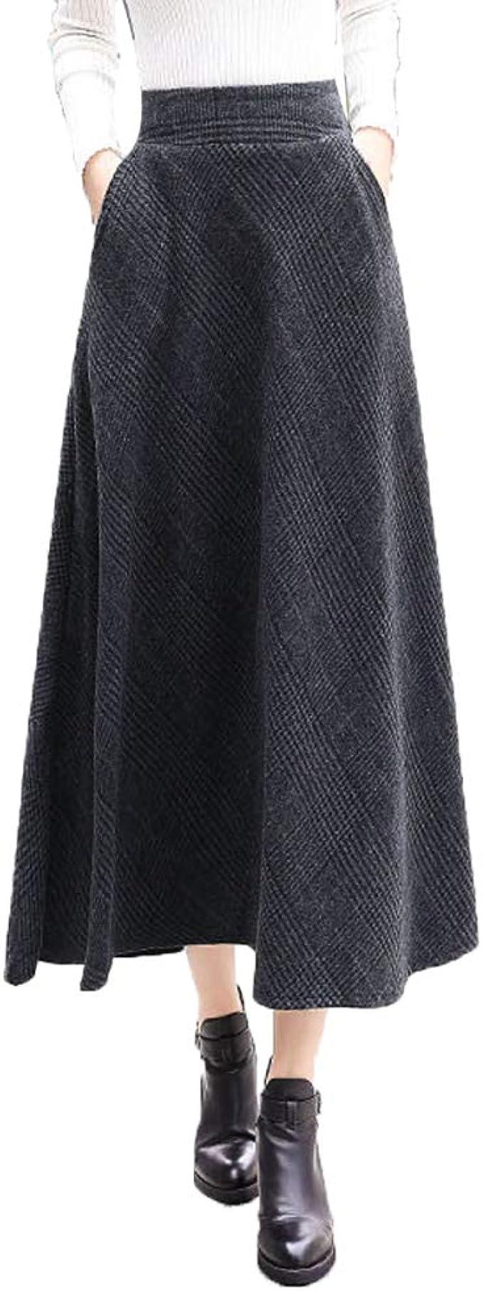 NIAIS Mujeres Ladys Vintage Lattice Woolen Falda Larga Elegante ...