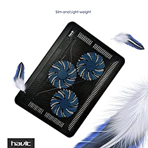 "HAVIT HV-F2056 15.6""-17"" Laptop Cooler Cooling Pad - Slim Portable USB Powered (3 Fans)"