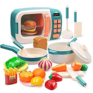 CUTE STONE Microwave Toys Kitchen Play Set,Kids Pretend Play Electronic Oven with Play Food,Cookware Pot and Pan Toy Set…