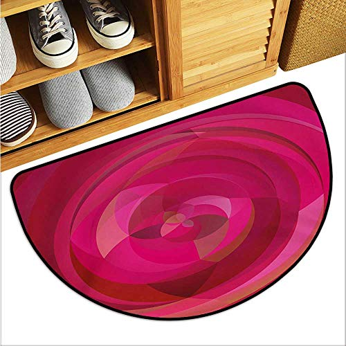 Hot Pink Large Outdoor Indoor Rubber Doormat Abstract Vortex with Swirls and Shapes Pattern with Vibrant Pink Colors Personality W29 x L17 Hot Pink Magenta Pink