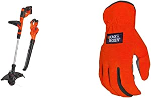 BLACK+DECKER 40V MAX Cordless Sweeper & String Trimmer Combo Kit with Easy-Fit All Purpose Glove (LCC340C & BD505L)
