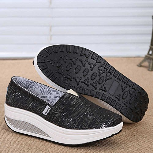 39 Color Respirables Zapatos FangYOU1314 Tela para 1 para Estudiantes EU Mujeres Zapatos de Antideslizantes Negro Negro tamaño Lona 3 de wzWYxzZ7q4