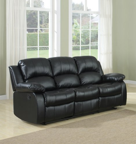 Homelegance Double Reclining Sofa, Black Bonded Leather
