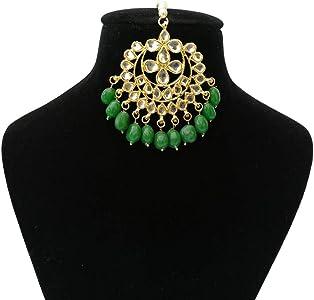 Finekraft Zircon Maang Tikka Bridal Latest Indian Traditional Wedding Designer Gold Plated Crystals Designer  Jewelry Set For GirlsWomen