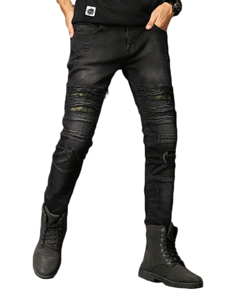 MEIKESEN Men's Black Skinny Stretch Ripped Hole Slim Straight Fit Moto Biker Jeans with Camo Patches 30