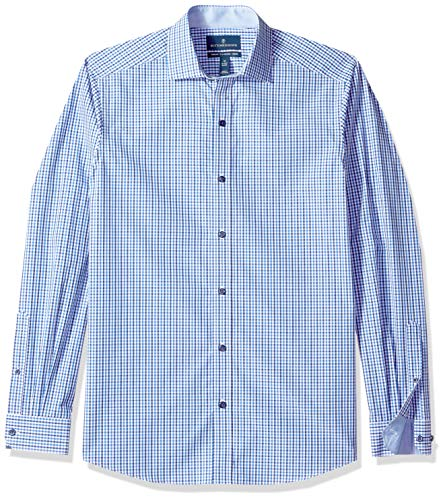 Fit Tattersall Cotton - BUTTONED DOWN Men's Tailored Fit Spread-Collar Dress Casual Shirt, Navy/Blue Tattersall, XXX-Large Tall