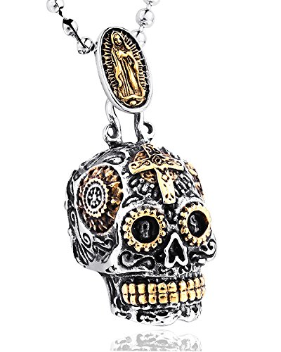 Sugar Skull Pendant Necklace Gothic Skeleton Pendants for Men with Wheat Chain]()