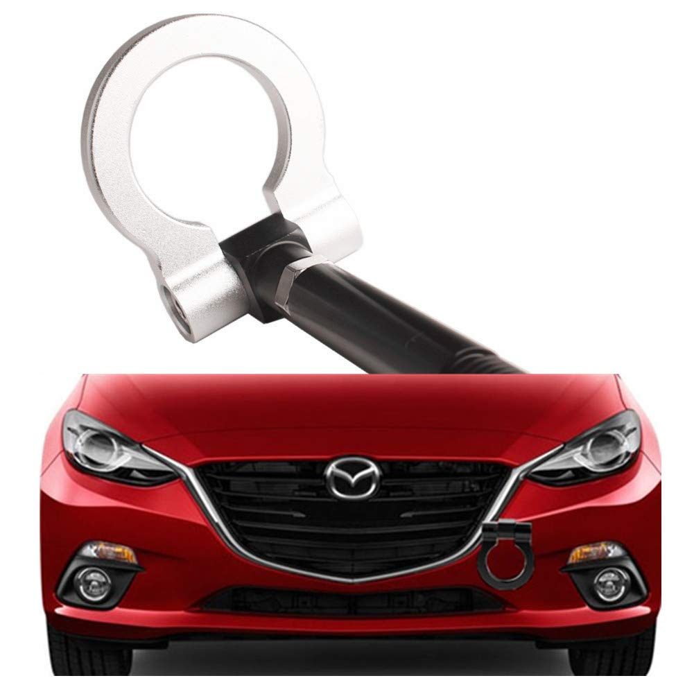 DEWHEL JDM Aluminum Track Racing Front Bumper Car Accessories Auto Trailer Ring Eye Towing Tow Hook Kit Screw On for 2014-up Mazda3 2014-up Mazda6 2013-up Mazda CX-5 2016-up Mazda MX-5 (Silver) by DEWHEL