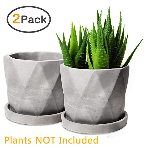 Succulent Pots, ZOUTOG Grey 4.42 inch Concrete Flower Planter Pot Set with Cement Tray, Pack of 2 (Plants NOT Included)
