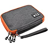 LIFEMATE Travel Accessories Electronics Organizer, Universal Cable Management Organizer Travel Bag For USB, Phone, iPad, Charger and Cable(Double Layer, Large, Grey and Orange)