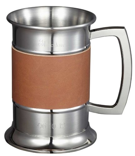 Visol 18 ounce Brown Leather Wrapped Stainless Steel Beer Tankard Home Kitchen Furniture Decor by Visol