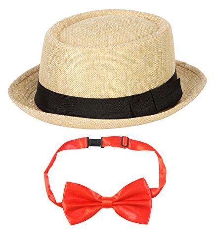 Barbershop Quartet Costume Kit - POP Porkpie Hat, Red Bowtie (Barbershop Costume)