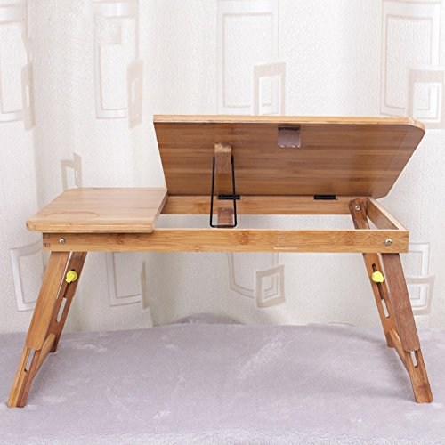 PENGFEI Portable Standing Desk Solid Wood Multifunction Collapsible Laptop Stand Reading Bookshelf Height Adjustable Mobile College Students Bamboo Wood Color, 2 Size (Color : Medium Normal) by PENGFEI-xiaozhuozi (Image #2)