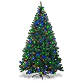 Goplus Artificial Christmas Tree Premium Spruce Hinged Tree with LED Lights and Solid Metal Stand, UL-Certified Transformer (7.5ft, 1075 Branch Tips, 550 Lights)