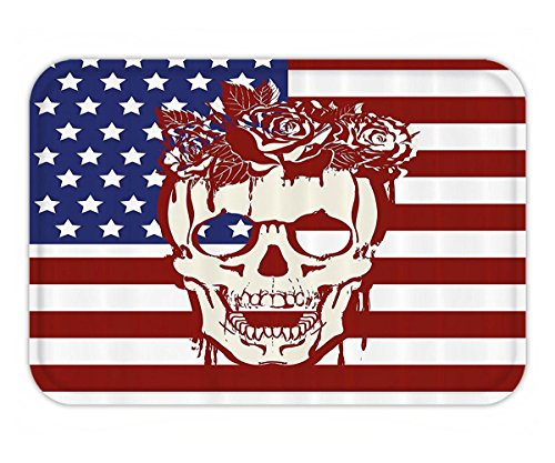 Beshowere Doormat Skull Decoration Dead Facial with a Wreath on Head USA Symbol StarHumor Illustration Fabric Bathroom Decor Set with Hook Long Red - Shape Facial Profile