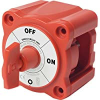 BLUE SEA SYSTEMS Mini Battery Switch, MFG# 6005, Red, 300A cont., 500A int., 48VDC. Positions: single-circuit on-off / BS-6005 /