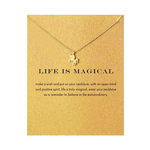 SEWEI Unicorn Necklace with Message Card(Golden Unicorn) ()