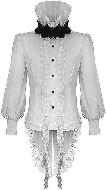 Devil Fashion Hombre Vampiro Gótico Camisa Top Blanco Steampunk Vintage Victoriano Rosa: Amazon.es: Ropa y accesorios