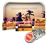 Bundle - 11 Items - Raw Natural 1 1/4 Cigarette Rolling Papers (4 Packs), RAW Pre-Rolled Tips (3 Packs), RAW 79mm Roller and Rolling Paper Depot Rolling Tray (Retro Palms), Grinder and Doob Tube