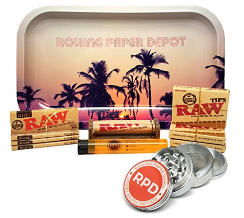 Bundle - 11 Items - Raw Natural 1 1/4 Cigarette Rolling Papers (4 Packs), RAW Pre-Rolled Tips (3 Packs), RAW 79mm Roller and Rolling Paper Depot Rolling Tray (Retro Palms), Grinder and Doob Tube by RAW, Rolling Paper Depot