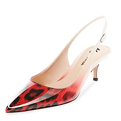 Amazon.com  Maguidern Kitten Heel Sandals Patent Leather Pointed Toe ...