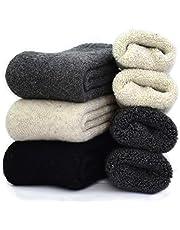 YZKKE 3Pack Mens Super Thick Wool Warm Socks - Soft Comfort Casual Crew Winter Socks Size 6-11