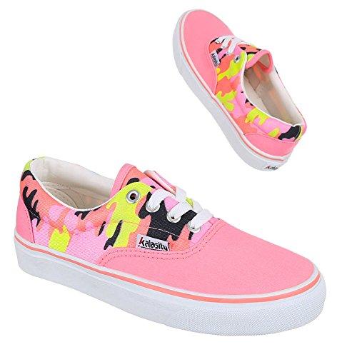 Ital-Design Damen Schuhe, YJ876013-1, Freizeitschuhe Sneaker Slipper Halbschuhe Rosa Multi