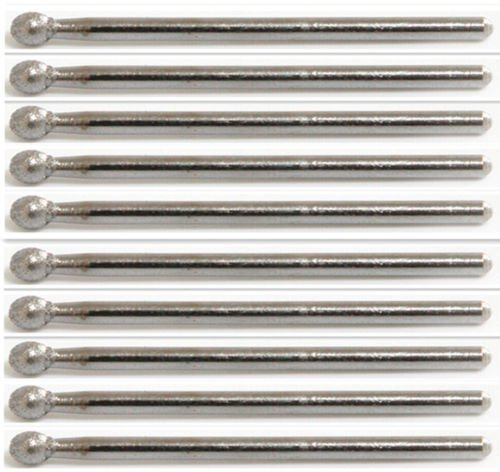 Power Tools 10x Diamond 4mm Ball Head Dremel Burr Drill Bit Grinding Carving 1/8'' Shank