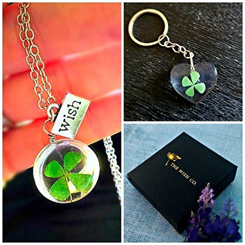 Trébol de la suerte Collar y llavero Set de regalo - trébol de cuatro hojas colgante con cadena de plata esterlina medallón llavero Conjunto de joyas ...