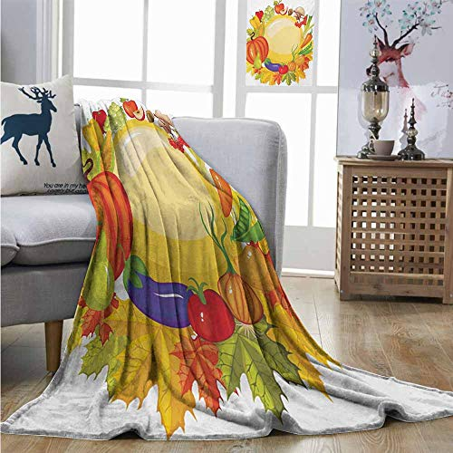 (Throw Blanket Harvest Garden Products from Whole Year Mushroom Bell Peppers Carrot Leek Healthy Life Coverlet W51 xL60 Multicolor)