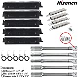 Hisencn Grill Replacement Parts Grill Burner, Heat Plate Tent Shield, Crossover Tubes, Igniter Repair kit for Charbroil 6 Burner Charbroil 463230515, 463230514 and Other Grill Parts, g431-0300-w2a