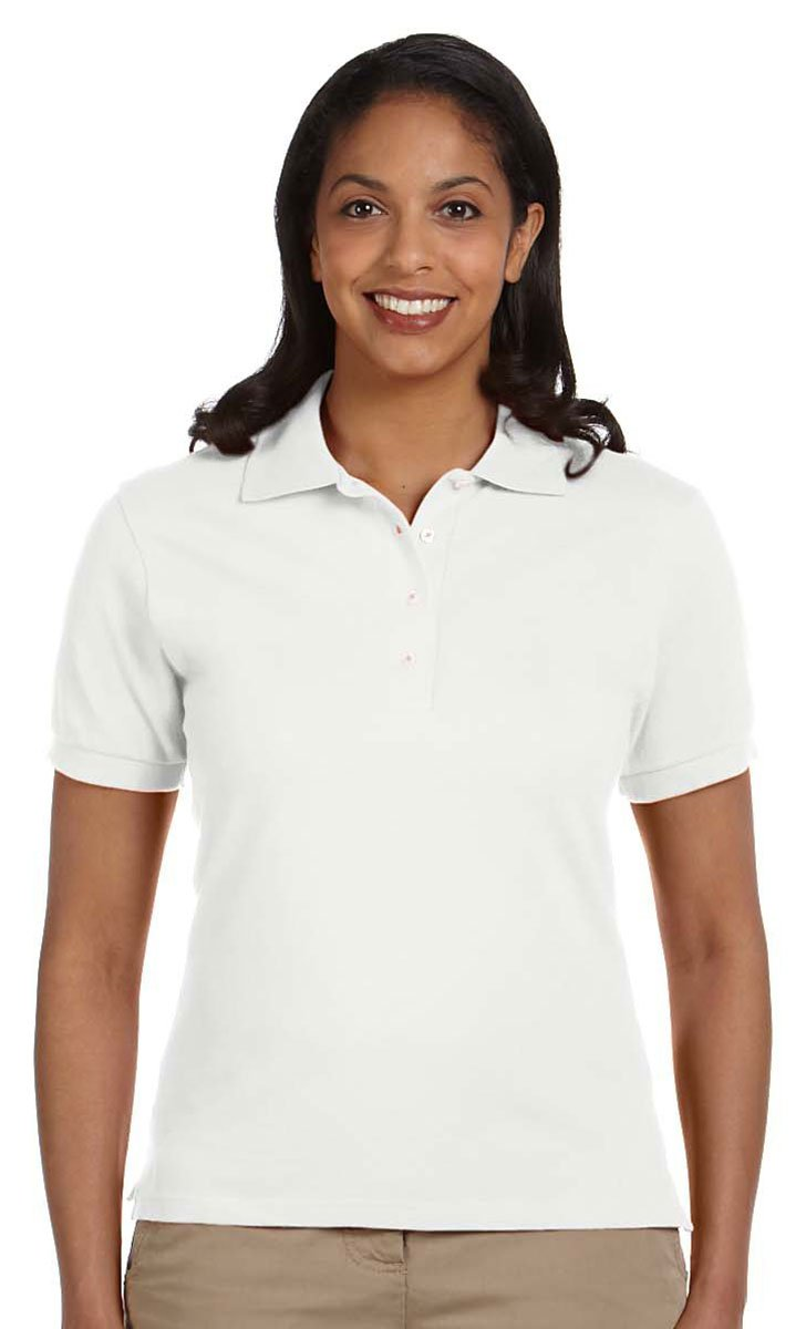 Jerzees Women's Knit Collar Feminine Fit Polo Shirt, White, 2XL (Pack of 12)