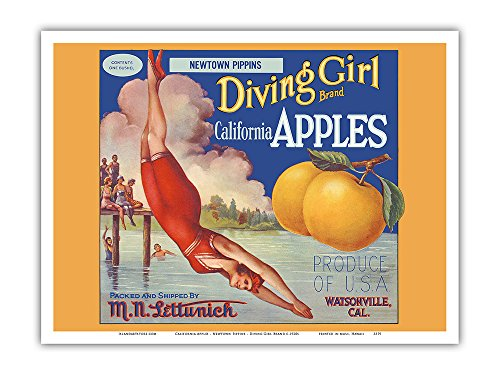 California Apples - Newtown Pippins - Diving Girl Brand - Vintage Fruit Crate Label c.1920s - Master Art Print - 9in x 12in