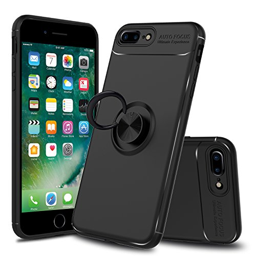 Innens Compatible iPhone 8 Plus Case, iPhone 7 Plus Case, Shock-Absorption Anti-Scratch Slim Protective Cover Case Ring Bracket Kickstand Compatible iPhone 7 Plus/iPhone 8 Plus (Black)