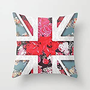 God Save the Queen Elegant Girly Lace Union Jack Zippered Pillow Cases 20x20 (two sides)