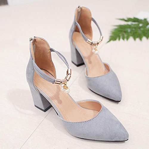 Heeled Ladies Sandals Sandals Color Zipper Women Rhinestone Gray Party Shoes Toe Solid Metal Pointed High Fashion Muium 8BFwSw