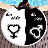 Sleepwish Sweet Love Her Side His Side Beach Blanket Round Beach Towel Black and White Valentine's Day Anniversary Summer Gifts (Heart, 60'')